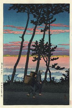 Sunset Glow at Nakoso-Fukushima, by Kawase Hasui, 1954.
