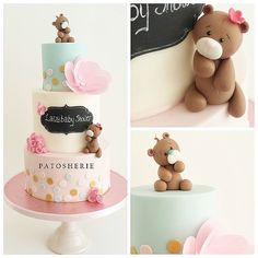 Teddy Cake Babyshower, Wafer Paper Flowers, Pastry Art, Bear Cakes, Sugar Paste, Baby Shower Cakes, Little People, Cake Decorating, Birthdays