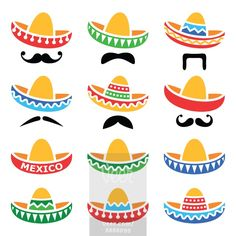 Mexican Sombrero hat with moustache or mustache icons  Stock Illustration