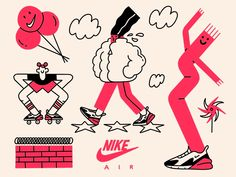 Nike LA: Elements of Air by Brandon Land on Dribbble Simple Illustration, Character Illustration, Digital Illustration, Graphic Illustrations, Simple Character, Character Design, Oeuvre D'art, Vector Art, Doodles