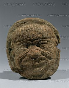 Sumer, terracotta head of Humbaba, demon, genie, and guardian of the cedar forests of Lebanon, period of the Amorite dynasties. In the Gilgamesh epic, Gilgamesh and his friend Enkidu cut off the demon's head. 20th-16th BCE