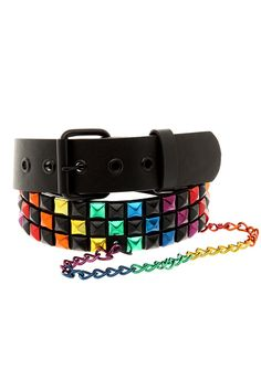 Black and Rainbow Pyramid Chain Belt $19.50 #HotTopic