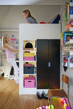 The STUVA loft bed works great in a small room because it has a built in wardrobe and shelving to provide lots of storage without taking up any extra space.