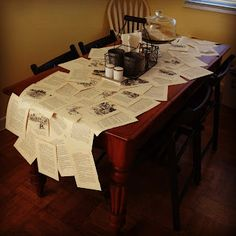 DiY Book Page Table Runner. This would be a cute and pretty cheap table decoration