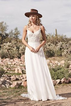 Lillian West - Style 66158: A-Line Gown with Lace Bodice and Chiffon Skirt A Line Bridal Gowns, A Line Gown, Bride Gowns, Bridal Dresses, Lillian West, Chiffon Rock, Chiffon Skirt, Anne Barge Wedding Dresses, Dream Wedding Dresses