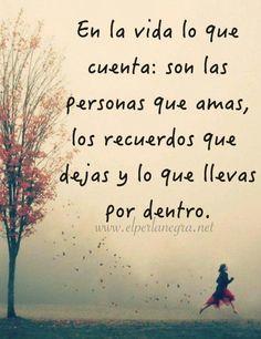 ... En la vida lo que cuenta: son las personas que amas, los recuerdos que dejas y lo que llevas por dentro.