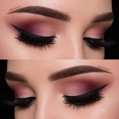 Click the link for more makeup ideas. Makeup For Burgundy Dress, Maroon Makeup, Black Dress Makeup, Burgundy Eyeshadow Looks, Makeup Eye Looks, Blue Eye Makeup, Eyeshadow Makeup, Gel Eyeliner, Eyeshadows