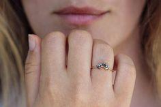 Black Diamond Crown Ring Black Marquise Diamond Wedding Ring