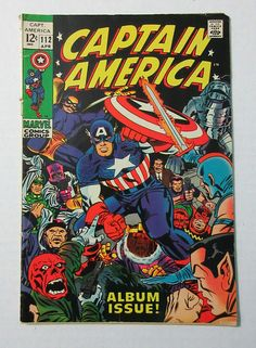 Vintage 1969 Captain America issue 112 silver age comic book by Marvel Comics, Jack Kirby art, with Avengers Iron Man and Prince Namor the Sub-Mariner: 1960's Marvelmania!