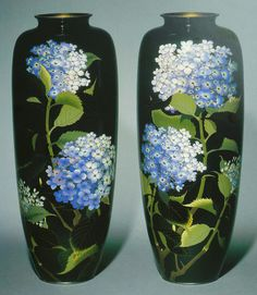 Pair of cloisonne vases, 1905-10. Cloisonne enamels worked in silver wire, silver rims and feet. Height 45.4cm. Made by Hayashi Kodenji.