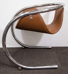Bryon Botker; Chromed Tubular Steel Framed Chair for Landes, 1970s.