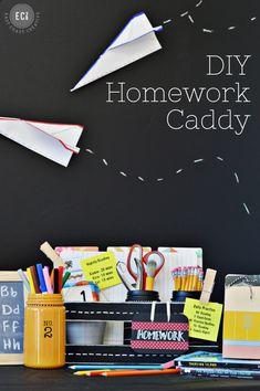 Beck-to-School | DIY Homework Caddy from East Coast Creative