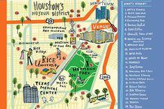 Houston Map by illustrator Bonnie Dain