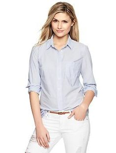 Fitted boyfriend mini-stripe shirt | Gap