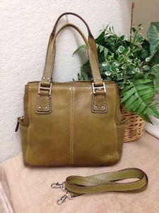 1d24dbc508 Fossil Blackburn Green Leather Handbag Shoulder Bag Satchel Pebble Olive  75082
