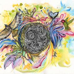 Live in Harmony Print - Illustration, whale hummingbird hawk deer - via AnnalisaBarelli.com