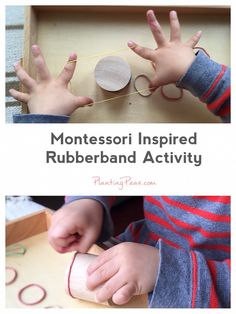 Montessori Inspired Rubberband Activity. Watch a video of how I taught my 3 year old to use a rubberband.