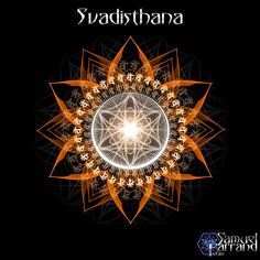 Svadhishthana (Sanskrit: स्वाधिष्ठान) or sacral chakra is symbolized by a white lotus within which is a crescent moon, with six vermilion, or orange petals. The seed mantra is Vam, and the presiding deity is Brahma, with the Shakti being Rakini (or Chakini). Corresponding deity for material element of this chakra is Indra (head of Vasus) or Varuna.The seed syllable is VAM.