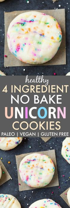 Easy and secretly healthy no bake unicorn inspired cookies made with just four ingredients and ready in 5 minutes! These fudgy cookies are completely paleo, vegan, gluten free, dairy free, refined .