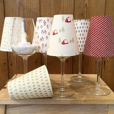 Lampshade for wine glasses / sewing ideas by Frau Tulpe - Frau Tulpe Stoffe Glass Christmas Decorations, Christmas Crafts, Upcycled Crafts, Diy And Crafts, Tulip Wine Glasses, Wine Glass Crafts, Photo Craft, Craft Fairs, Diy Gifts