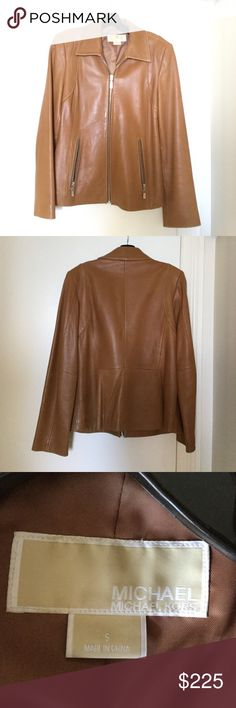Michael by michael Kors dark tan/pumpkin leather Mid length jacket. Barely worn no flaws. Silver zipper and hardware. Size small fits around sizes 6-8 MICHAEL Michael Kors Jackets & Coats Utility Jackets