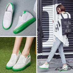 Womens Soft Summer Hollow Out Slip On Hidden Heel Sneakers plus Size#chic new