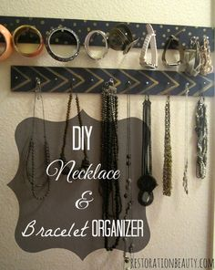Make an easy and frugal necklace and bracelet organizer!