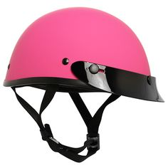 <b>Ultra Slim Profile Fiberglass Matte Pink Motorcycle Half Helmet</b><br><br>This slim-fit, Ultra Slim profile Outlaw is the lightest DOT-approved helmet on the market. It is made of fiberglass and has a comfortable plush liner.
