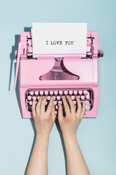 """Buy Woman's hands writing """"I love you"""" on a typewriter. by photocreo on PhotoDune. Woman's hands writing """"I love you"""" on an oldschool pink typewriter. Telephone Vintage, Murs Roses, Foto Still, Ritter Sport, Photo Vintage, Pink Wallpaper Iphone, Pink Photo, Photo Wall Collage, Scrapbook"""