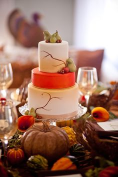 Lovely cake and beautiful thanksgiving tablescape