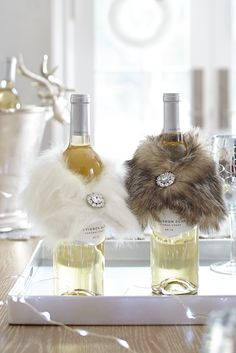 Give the wine for your New Year's Eve party a little panache by wrapping the bottle in a Pier 1 Faux Fur Wine Scarf accented with bling. If you know you'll be attending several parties, pick up a few extras for hostess gifts.