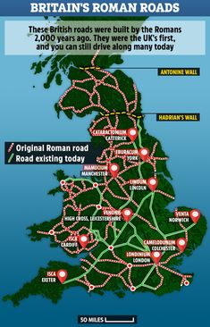 Roman Britain map reveals the ancient roads built years ago that you still drive on today Uk History, Roman History, British History, History Facts, Strange History, Tudor History, African History, Map Of Britain, Roman Britain