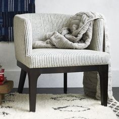 Oliver Chair, Painted Stripe, Gravel