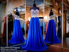 This gown is super elegant and fun at the same times. Its sweetheart strapless bodice is covered with beautiful gold embellishments cascading into a flowing chiffon skirt. So pretty and it's at Rsvp Prom and Pageant, your source for the hottest 2016 Prom Dresses!