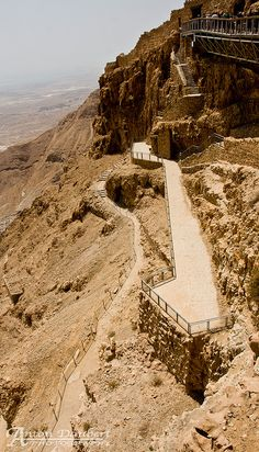 How you get down from Masada.  That railing only lasts for a bit....then the hike gets a bit tricky...