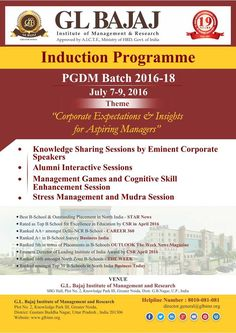 """GLBIMR Best BSchool PGDM Induction Programme Batch 2016-2018  GLBIMR is looking forward to welcome its new PGDM Batch 2016-2018. On the occasion of commencement of new batch; GLBIMR is organizing three days extensive Induction Programme from July 7 – 9, 2016 on theme - Corporate Expectations & Insights for Aspiring Managers"""". The occasion will be graced by Eminent Speakers from the Corporate World. The program includes a variety of activities such as Team-Building Activities, Workshops and…"""