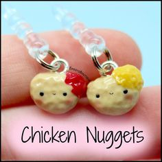 These TINY chicken nugget charms are available in my shop and Etsy! Link in bio Cute Cartoon Food, Kawaii Crafts, Polymer Clay Charms, Chicken Nuggets, Polymers, Clay Ideas, I Shop, Resin, Room Ideas