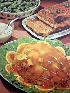 Meatloaf and molded gelatin salad!
