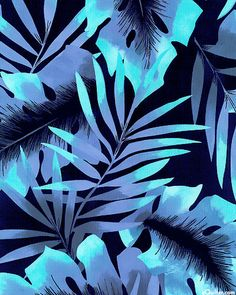 In the Tropics - Rainforest Foliage - Indigo