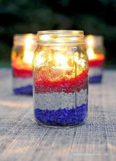 Adorable USA decor with tea lights and colored rice!!!