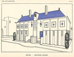 Une Cité Moderne, part 3 - Here are four more designs for the modern city, published in 1922 by French architect Rob Mallet-Stevens. Robert Mallet Stevens, Portal Design, Art Deco Illustration, Illustrations, Vienna Secession, Black And White Lines, Modern City, Paris, Line Drawing