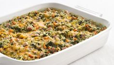 Try this Healthified Spinach and Rice Casserole. Give a favorite casserole a makeover using brown rice for whole-grain benefits. Featuring canned cream of mushroom soup. Spinach Casserole, Rice Casserole, Casserole Recipes, Spinach Rice, Cooking Recipes, Healthy Recipes, Rice Recipes, Spinach Recipes, Recipies