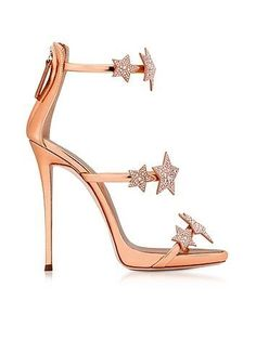 381606d8e13ac5 Giuseppe Zanotti Armony Star Copper Laminated Leather High Heel Sandals