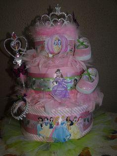 Disney Princess diaper cake with tutu  by Tammy Lively
