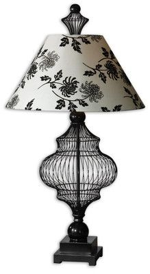 FRENCH COUNTRY Wire TABLE LAMP w/ Black White Floral Tapered Lampshade NEW