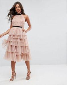 74c3772743e7 ASOS PREMIUM High Neck Tiered Tulle Midi Prom Dress at asos.com