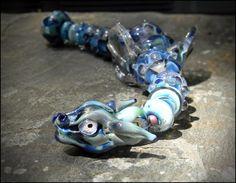 Lampwork Blues Garden Dragon Bead Set Hannah by HannahRachel