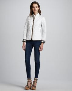 -470K Burberry Brit Check-Cuff Quilted Jacket & Faded Skinny Jeans