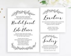 Simple Floral Watercolor Wedding Invitation by LiviLouDesigns