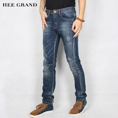 b667fde742b HEE GRAND Men Fashion Jeans 2017 New Autumn Mid-Waist High Elasticity Jeans  Slim Fitted Denim Trousers Plus Size 28-38 MKN1014